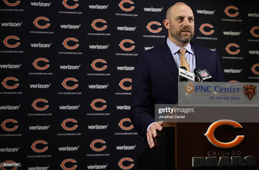 New Chicago Bears head coach Matt Nagy speaks to the media during an introductory press conference at Halas Hall on January 9, 2018 in Lake Forest, Illinois.