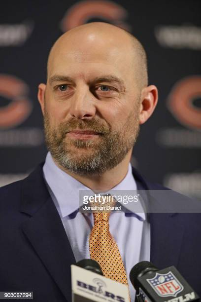 New Chicago Bears head coach Matt Nagy speaks to the media during an introductory press conference at Halas Hall on January 9, 2018 in Lake Forest,...