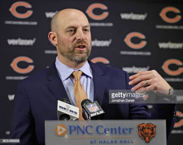 New Chicago Bears head coach Matt Nagy speaks to the media during an introductory press conference at Halas Hall on January 9 2018 in Lake Forest...