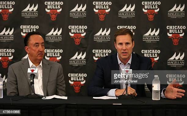 New Chicago Bulls coach Fred Hoiberg speaks at a press conference with General Manager Gar Forman at the Advocate Center on June 2 2015 in Chicago...