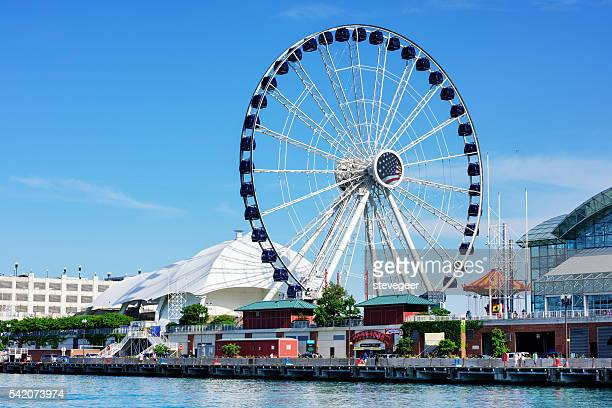 new chicago ferris wheel - navy pier stock pictures, royalty-free photos & images