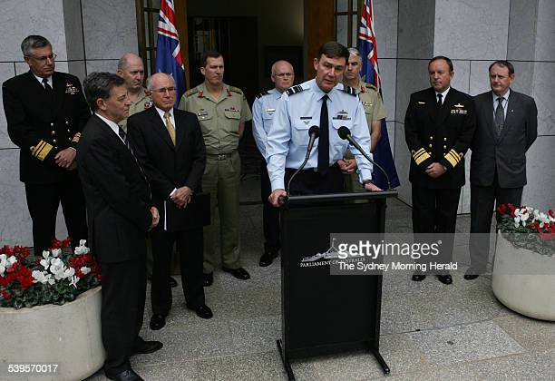 New chiefs for the Australian Defence Force being announced at a press conference in the Prime Minister's courtyard at Parliament House on 23 May...