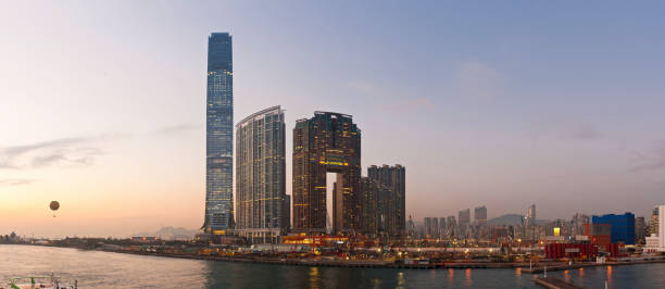 New China Neon Skyscrapers Illuminated Sunset Panorama Kowloon Hong Kong Wall Art