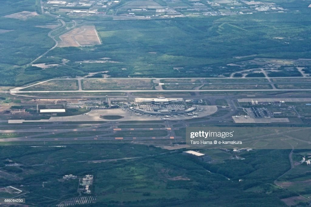 New Chitose Airport daytime aerial view from airplane : Stock Photo