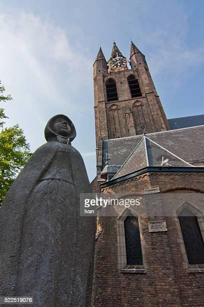 new church, market square, delft, netherlands - デルフトの新教会 ストックフォトと画像