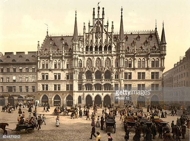 New City Hall Munich Bavaria Germany between 1890 and 1900 Photomechanical print in photochrom colour