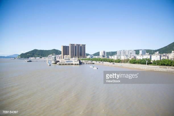 new city port of zhoushan city,zhejiang province,china - zhejiang provincie stockfoto's en -beelden
