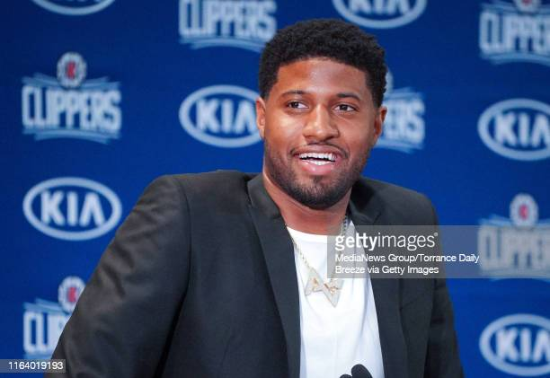 New Clippers player Paul George speaks at a press conference at the Green Meadows Recreation Center in Los Angeles on Wednesday July 24 2019 George...