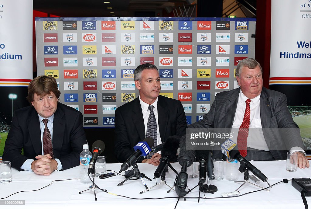 New club chairman, Greg Griffin, Football Federation Australia CEO Ben Buckley and new part owner, Rob Gerard, during a media conference announcing the new owners of the Adelaide United Football Club at Hindmarsh Stadium on November 8, 2010 in Adelaide, Australia.