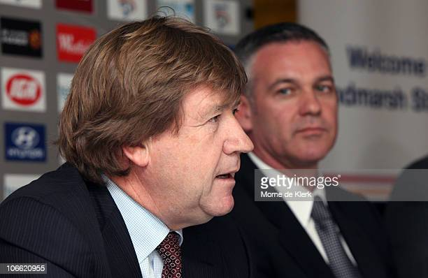 New club chairman Greg Griffin speaks as Football Federation Australia CEO Ben Buckley listens during a media conference announcing the new owners of...