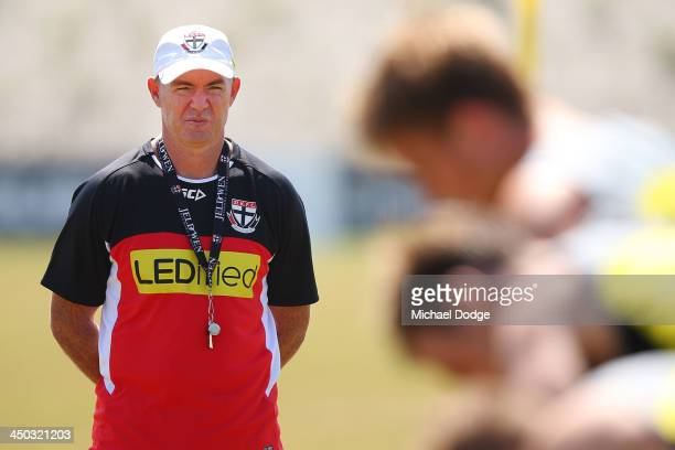 New coach Alan Richardson looks at players running during a St Kilda Saints AFL media session at Linen House Oval on November 18 2013 in Melbourne...