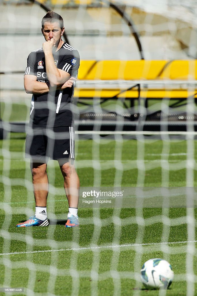 New coach Chris Greenacre looks on during a Wellington Phoenix A-League training session at Westpac Stadium on February 26, 2013 in Wellington, New Zealand.