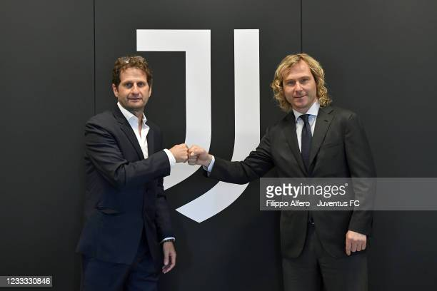 New Coach Joe Montemurro and Pavel Nedved, Vice Chairman of Juventus pose at Continassa Headquarters on June 08, 2021 in Turin, Italy.