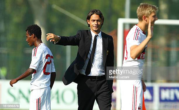 New coach of AC Milan juvenile Filippo Inzaghi at the end of the juvenile match between AC Milan and Bologna FC on September 9 2012 in Milan Italy