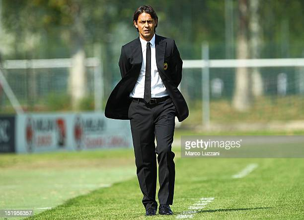 New coach of AC Milan juvenile Filippo Inzaghi looks on during the juvenile match between AC Milan and Bologna FC on September 9 2012 in Milan Italy