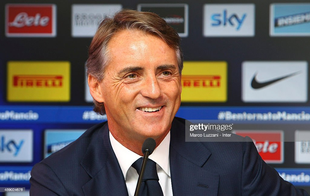 New coach of FC Internazionale Milano Roberto Mancini speaks to the media during a press conference at the club's training ground on November 15, 2014 in Appiano Gentile Como, Italy.
