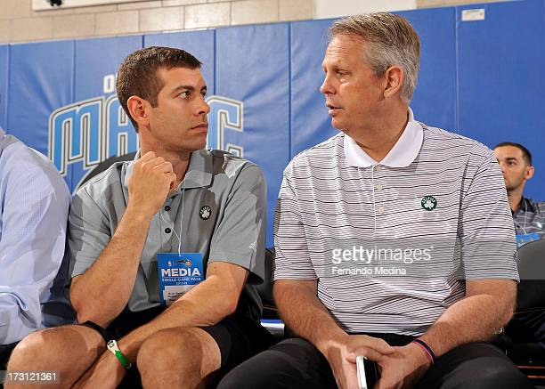 New Coach of the Boston Celtics Brad Stevens confers with Daniel Ray 'Danny' Ainge basketball executive President of Basketball Operations for the...