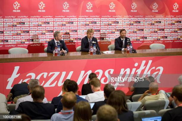 New coach of the Poland national football team Jerzy Brzeczek and President of the Polish Football Association Zbigniew Boniek during a press...