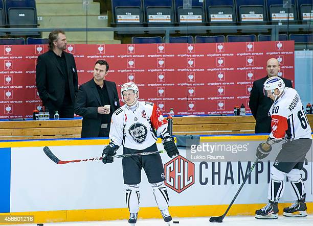 New coaches Miika Elomo and Miika Kiprusoff overseeing the warm up during the Champions Hockey League round of 16 second leg game between Lukko Rauma...