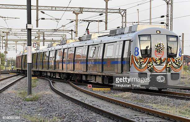 New coaches of Delhi Metro on the blue line at Yamuna Bank depot on October 21 2016 in New Delhi India The Delhi Metro will add 258 more coaches to...
