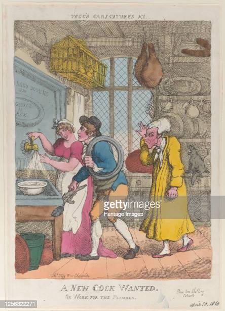 A New Cock Wanted or Work for the Plumber April 20 1810 Artist Thomas Rowlandson