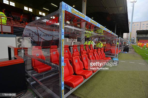 New comfortable dugout seating for a new season at Firhill Stadium Partick Thistle the Scottish Premiership League match between Partick Thistle and...
