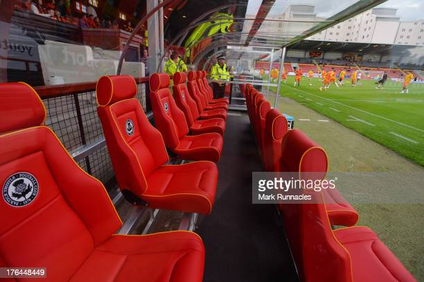 New comfortable dugout seating for a new season at Firhill Stadium Partick Thistle, the Scottish Premiership League match between Partick Thistle and...
