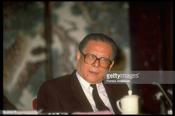 New Communist Party chief Jiang Zemin at press conference