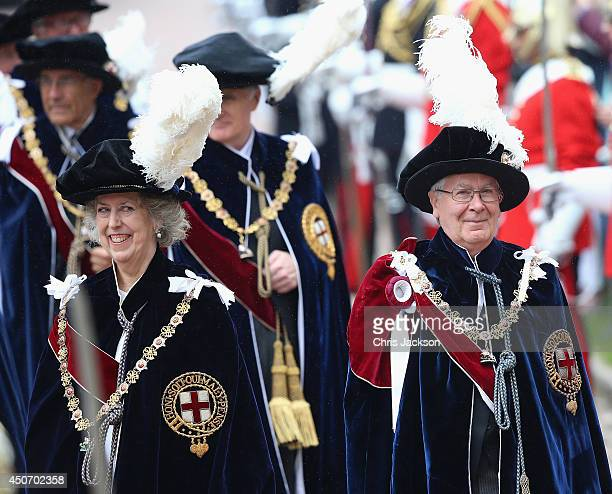New Companions Mervyn King and Baroness Elizabeth ManninghamBuller process to St George's Chapel for the Most Noble Order of the Garter Ceremony on...