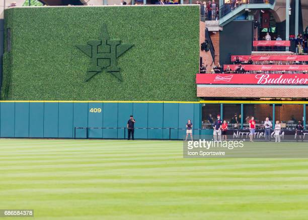 New concourse and concession stands adorn center field with a green Houston Astros logo during the MLB game between the Cleveland Indians and Houston...