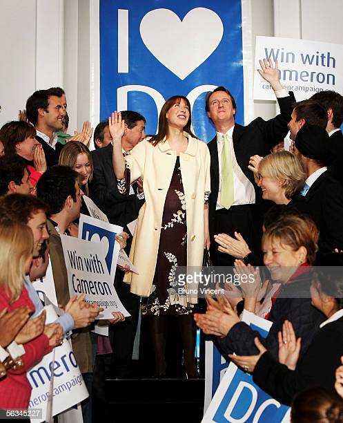 New Conservative Party Leader David Cameron waves to supporters with his wife Samantha after winning the leadership election December 6 2005 in...
