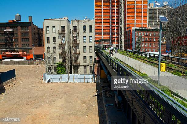 New Construction, High Line Park cityscape & people Chelsea, NYC