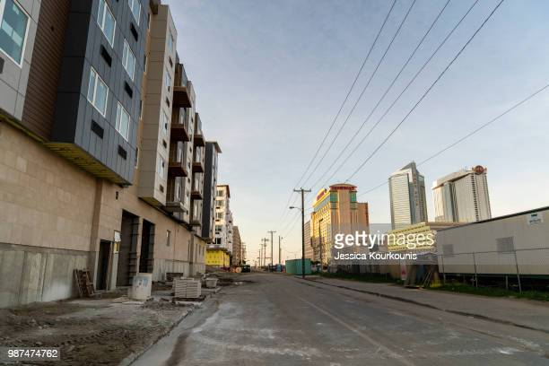 New construction lines a block near the boardwalk on June 29 2018 in Atlantic City New Jersey Two new casinos opened this week in the seaside resort...