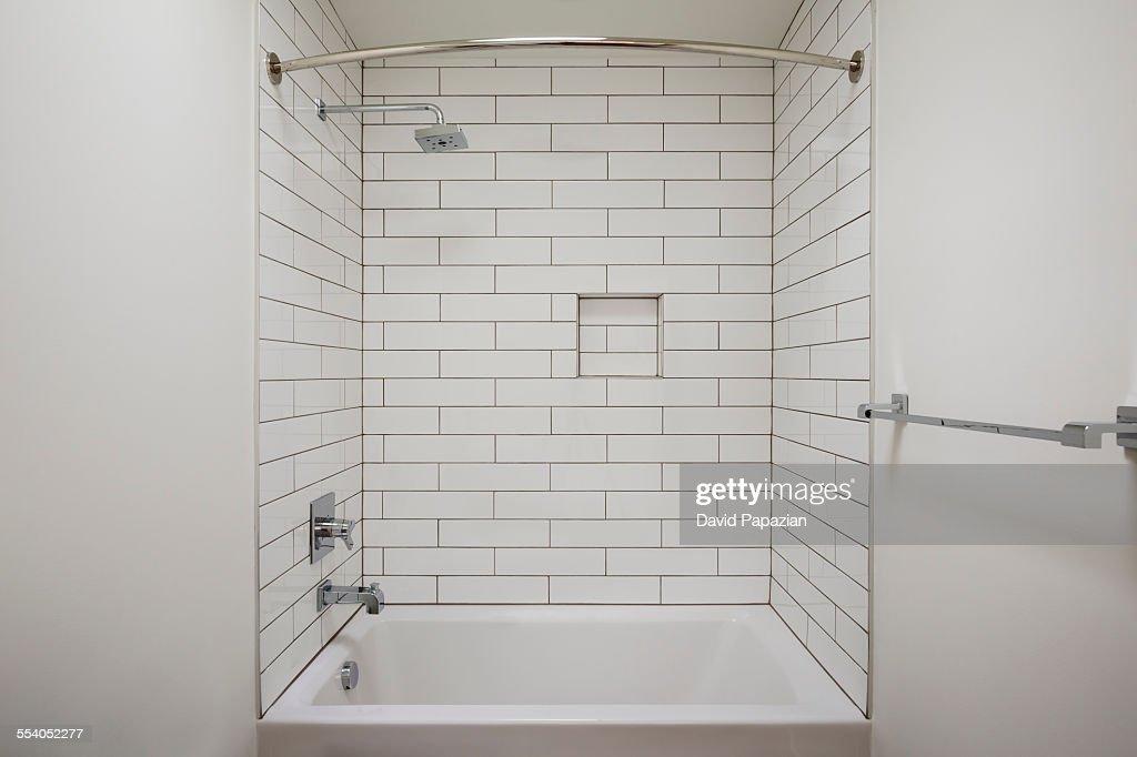 New Construction Modern Bathtub Shower Combo : Stock Photo