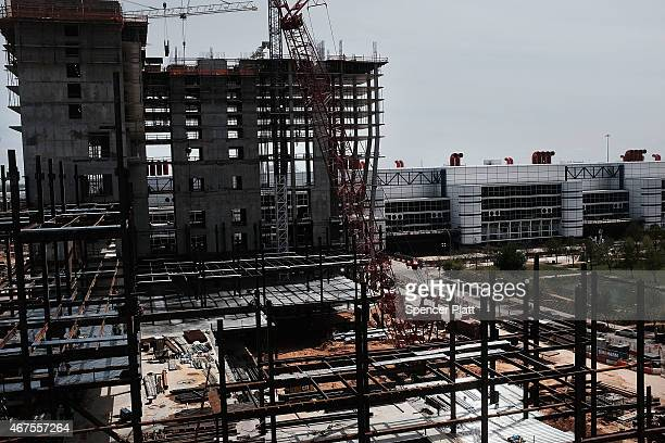 A new construction site is shown on March 25 2015 in Houston Texas Texas which in just the last five years has tripled its oil production and...