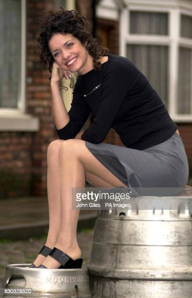 New Coronation Street barmaid Geena Gregory at the Granada Studios in Manchester Geena the latest in a long line of barmaids to pull pints at the...