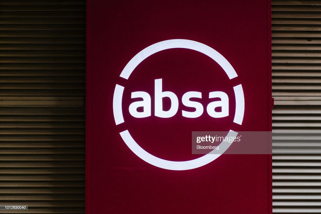 A new corporate logo sits on a sign outside the Absa Group