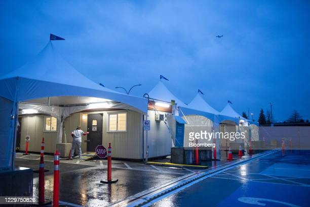 New Covid-19 test collection center near the Vancouver International Airport in Richmond, British Columbia, Canada, on Wednesday, Nov. 18, 2020....