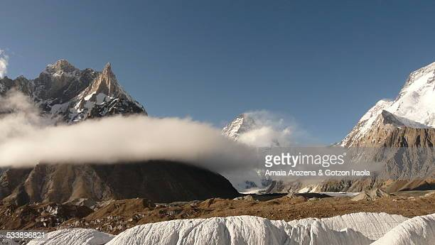 new cristal peak, marble peak and k2 mountains - k2 mountain stock pictures, royalty-free photos & images