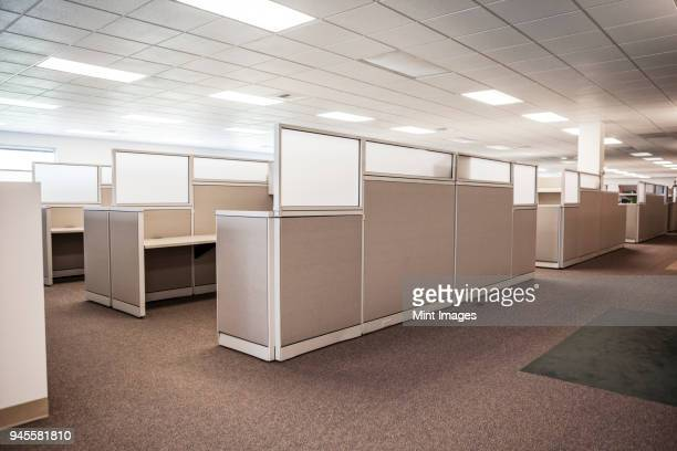 New cubicle spaces in office interior.