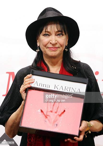 New Currents Jury Anna Karina attends a Hand Printing ceremony during the 13th Pusan International Film Festival at Grand Hotel on October 8 2008 in...