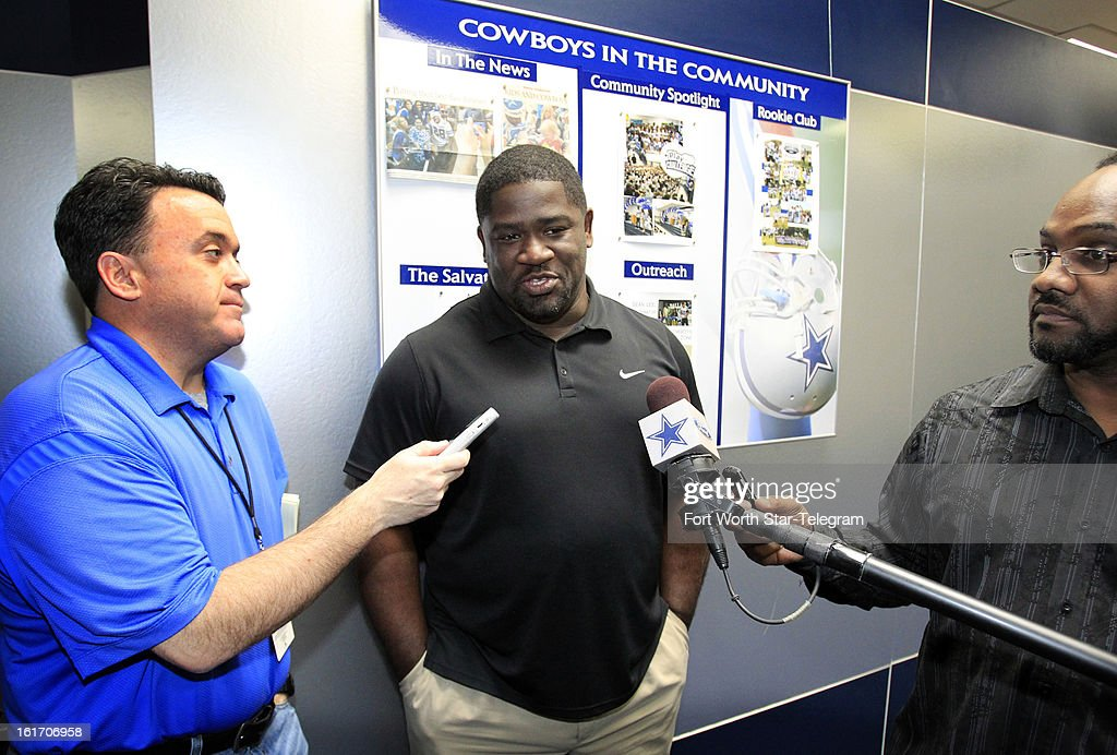 New Dallas Cowboys running backs coach Gary Brown talks with the media during an introductory interview session of coaching staff members, Thursday, February 14, 2013 at Valley Ranch in Irving, Texas.