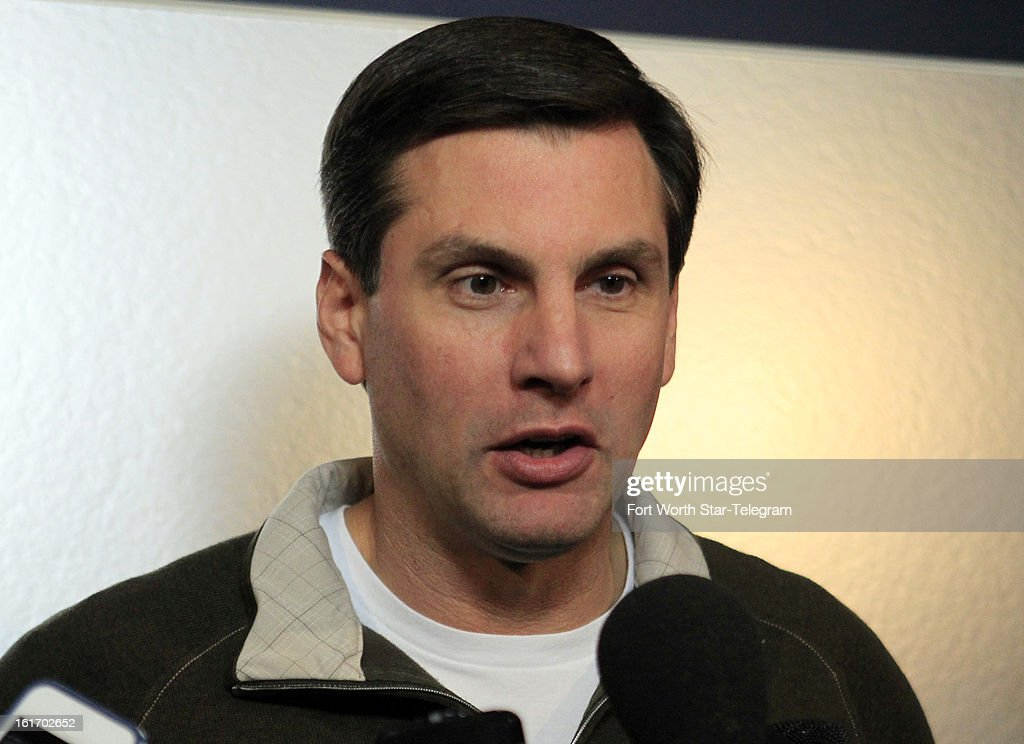 New Dallas Cowboys wide receivers coach Derek Dooley talks with the media during an introductory interview session of coaching staff members, Thursday, February 14, 2013 at Valley Ranch in Irving, Texas.