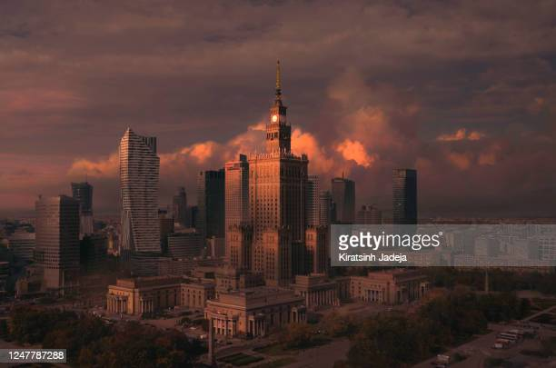 a new dawn in warsaw - warsaw stock pictures, royalty-free photos & images