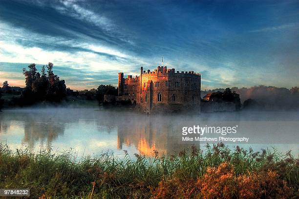 new day dawning at leeds castle - castle stock photos and pictures