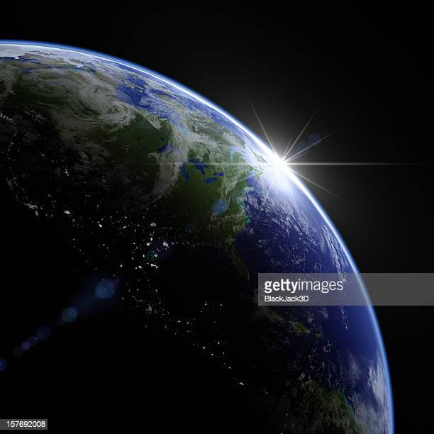 new day the earth - satellite view stock pictures, royalty-free photos & images