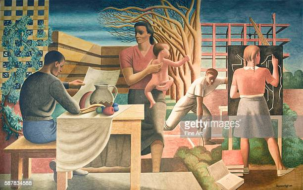 New Deal / Treasury Section of Fine Arts Seymour Fogel WPA mural from the Cohen Building in Washington DC 1942 Fogel's murals were painted to express...