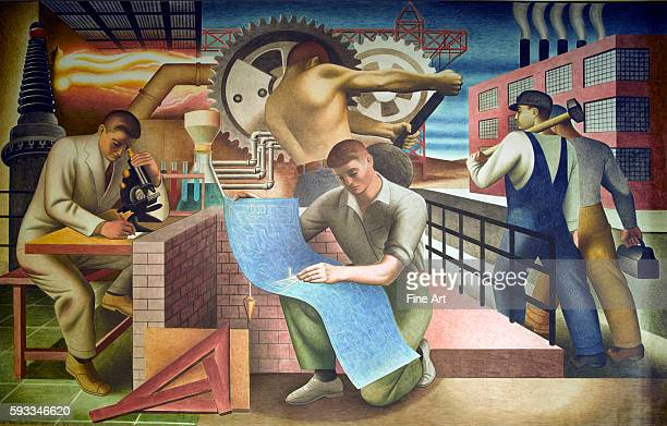 New Deal / Treasury Section of Fine Arts. Seymour Fogel, WPA mural from the Cohen Building in Washington, D.C., 1942. Fogel's murals were painted to...