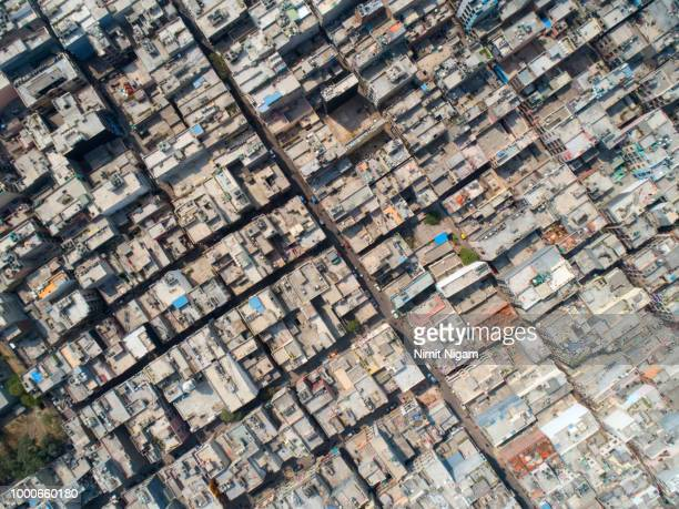 new delhi aerial view - indian slums stock pictures, royalty-free photos & images