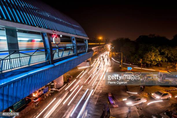 New Delhi elevated metro station at night, India